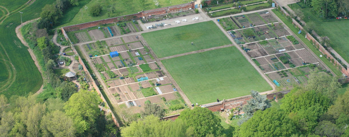 Aerial photo of walled garden